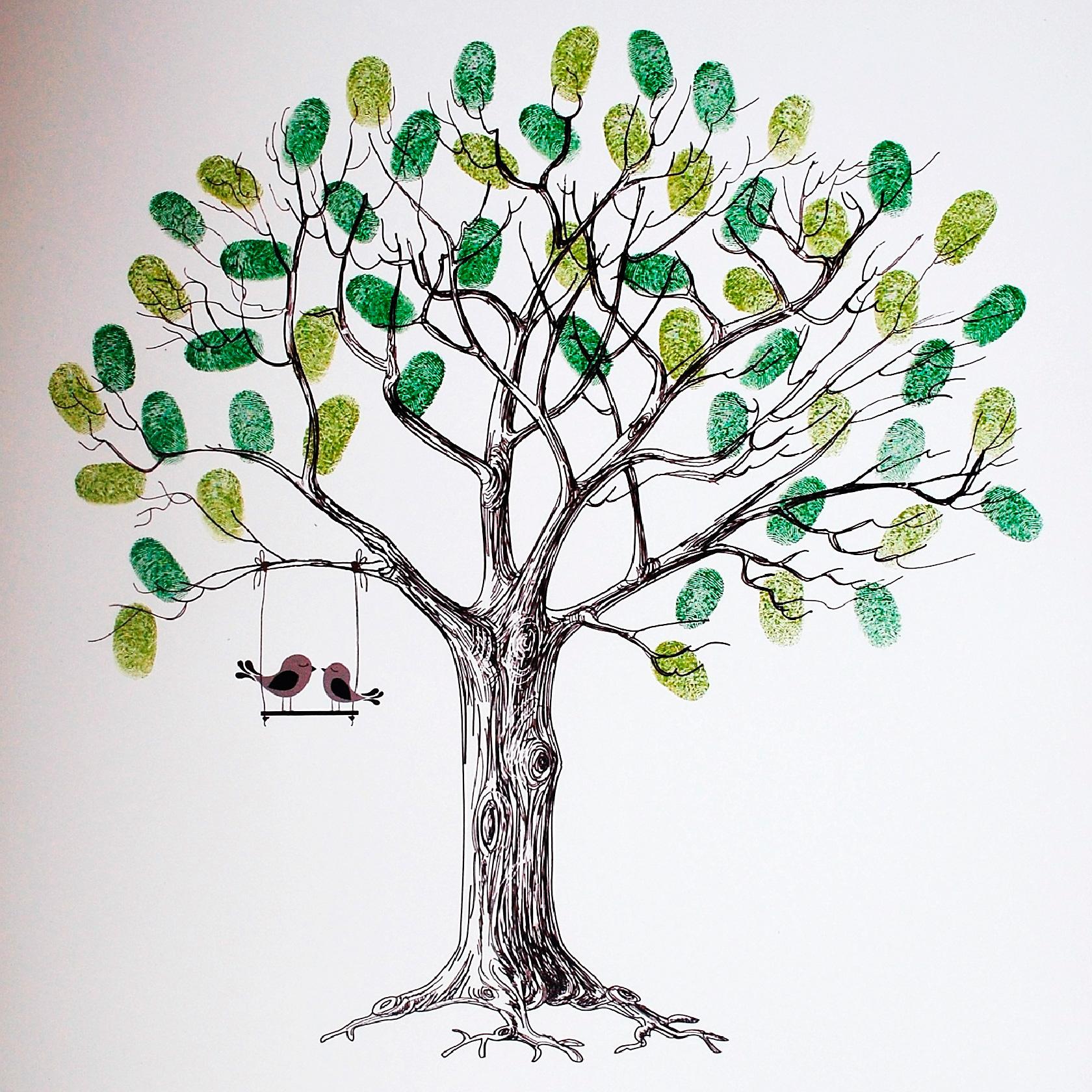 Дерево для отпечатков пальцев шаблон скачать